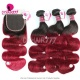 T1B/99J Burgundy 4x4 Lace Closure With 3 /4 Bundles Brazilian Body Wave Royal Virgin Human Hair Extensions