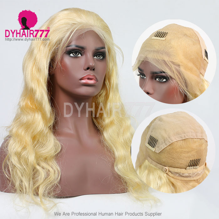 #613 Wig 130% density Virgin Human Hair Body Wave Blonde Full Lace Wigs With Nautal Hairline