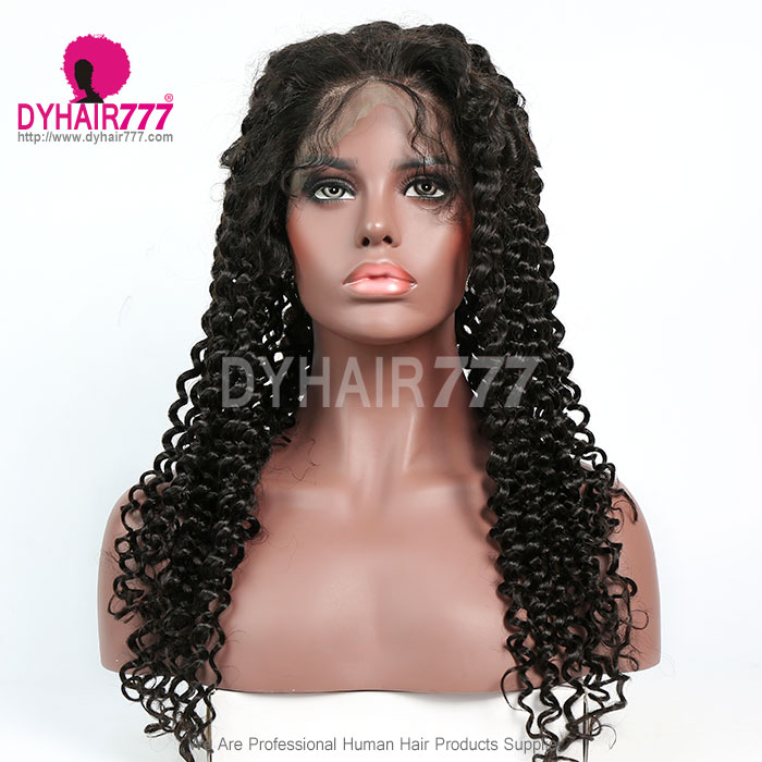 130% Density 1B# Top Quality Virgin Human Hair Italian Curly Full Lace Wigs Natural Color