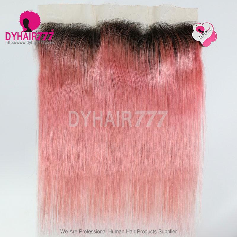 1B/Pink Frontal 13*4Lace Frontal Closure Straight Hair Virgin Human Hair