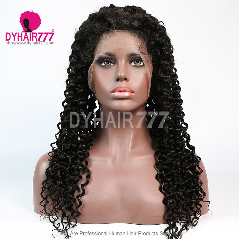180% density Top Quality Virgin Human Hair Italian Curly Lace Front Wigs