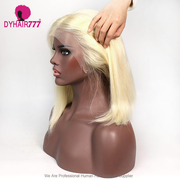 Blonde Lace Wig 150% Density Blunt Wig Short Bob Wig #613 Straight Hair 100% Human Hair Lace Front Wig