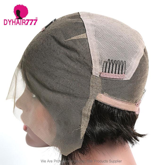130% Density Silky Hair Short Bob Wig Full Lace Wig 100% Human Hair Natural Color