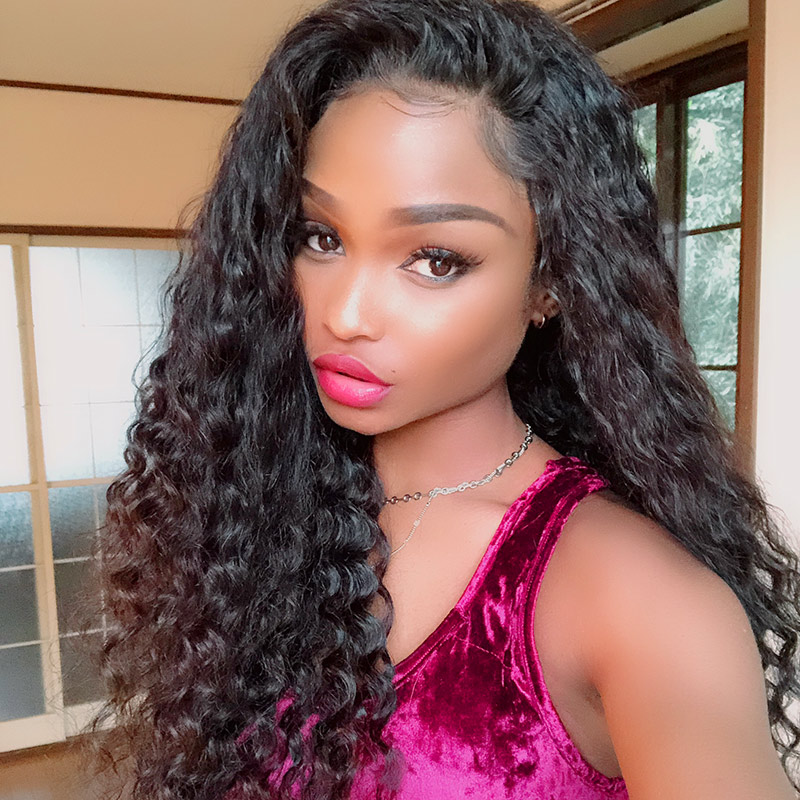 180% density Top Quality Virgin Human Hair Deep Wave Lace Front Wigs