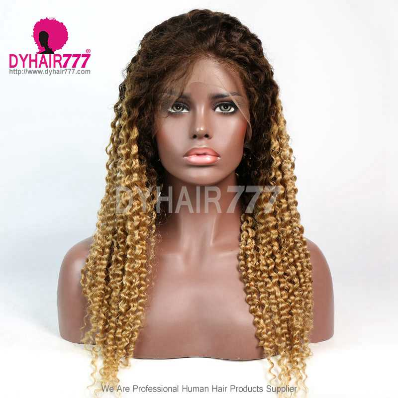 130% Density Ombre Color T4/27 Deep Curly Lace Front Wig 100% Virgin Human Hair