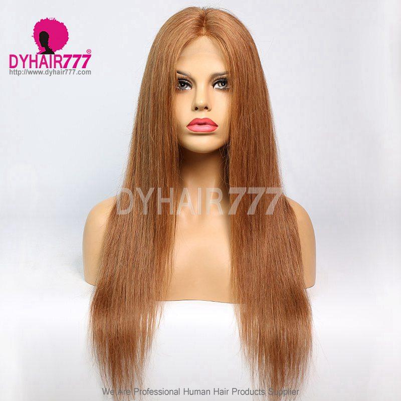 Closure Wig 180% Density Color 30 Lace Wig Straight Hair 100% Virgin Human Hair
