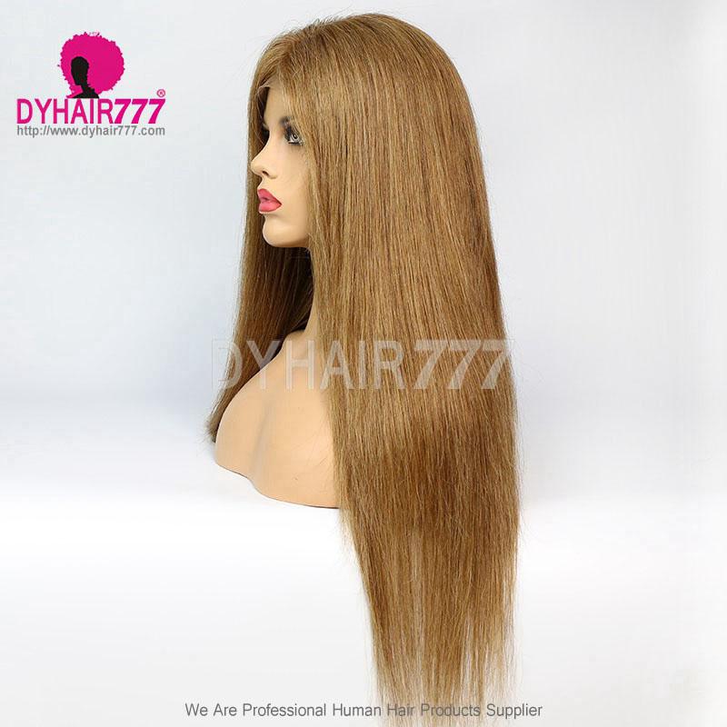 Closure Wig 180% Density Color 8 Lace Wig Straight Hair 100% Virgin Human Hair