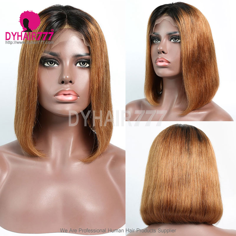 150% Density Bob Lace Front Wig Ombre Color 1B/30 Straight Virgin Human Lace Wig