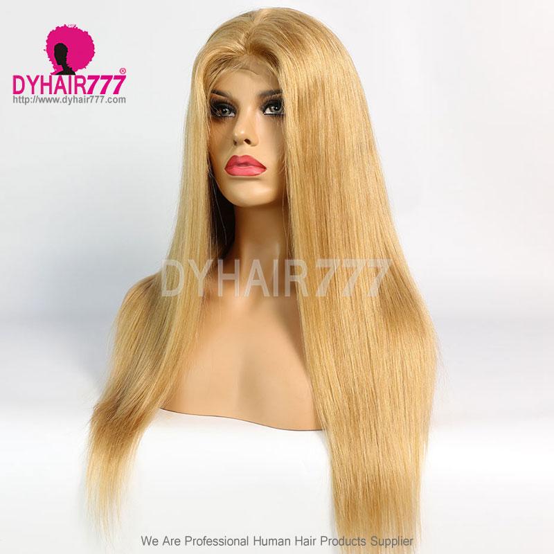 Closure Wig 180% Density Color 27 Lace Wig Straight Hair 100% Virgin Human Hair