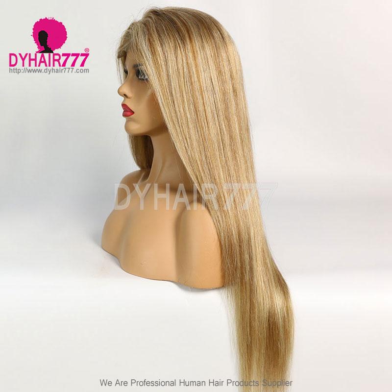 Closure Wig 180% Density Color P8/613 Lace Wig Straight Hair 100% Virgin Human Hair