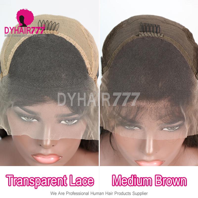 130% Density 1B# Top Quality Virgin Human Hair Deep Wave Lace Frontal Wigs
