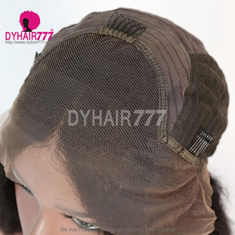 150% Density Blunt Wig Middle Part Short Bob Wig Kinky Straight Hair 100% Human Hair Natural Color