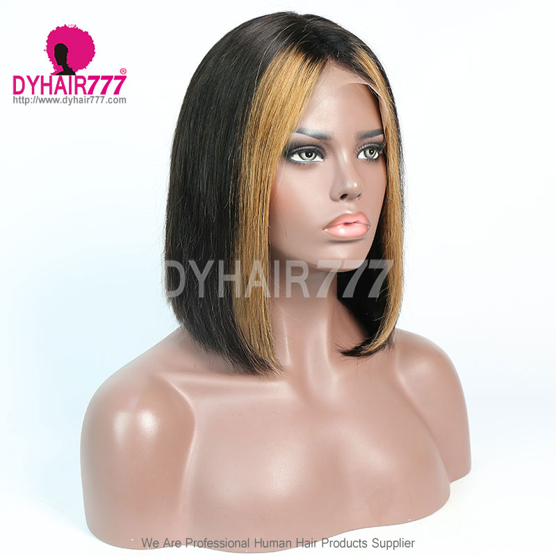 150% Density Highlighted Lace Front Bob Wig Straight Hair 100% Human Hair Natural Color
