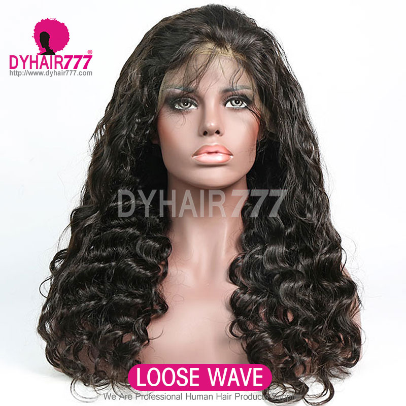 Transparent Lace 130% Density 1B# Top Quality Virgin Human Hair Full Lace Wigs Natural Color