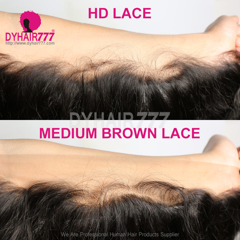 HD Swiss Lace Frontals 13*4 Human Hair With Baby Hair Natural Color