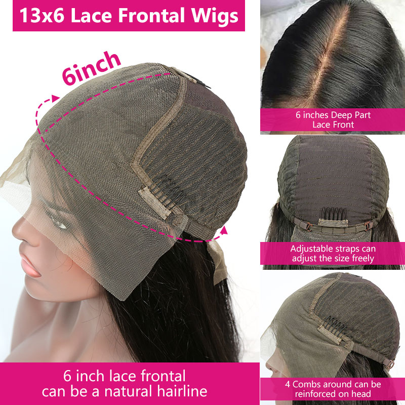Pre Plucked 13x6 Lace Frontal Wigs 130% Density Virgin Human Hair