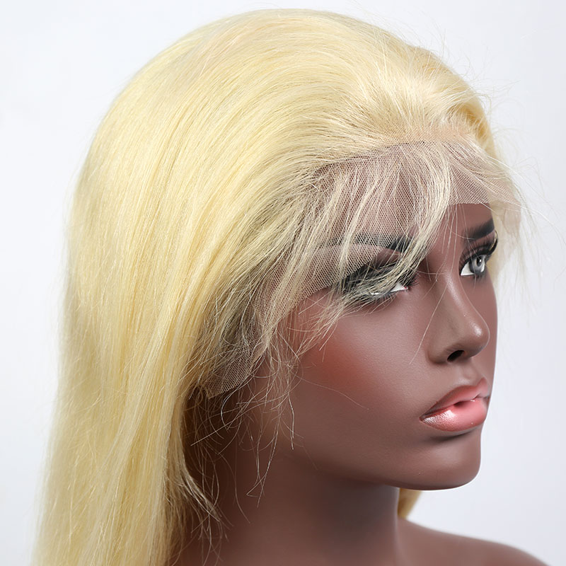 #613 Wig 180% density Virgin Human Hair Straight Blonde Lace Front Wigs With Nautal Hairline