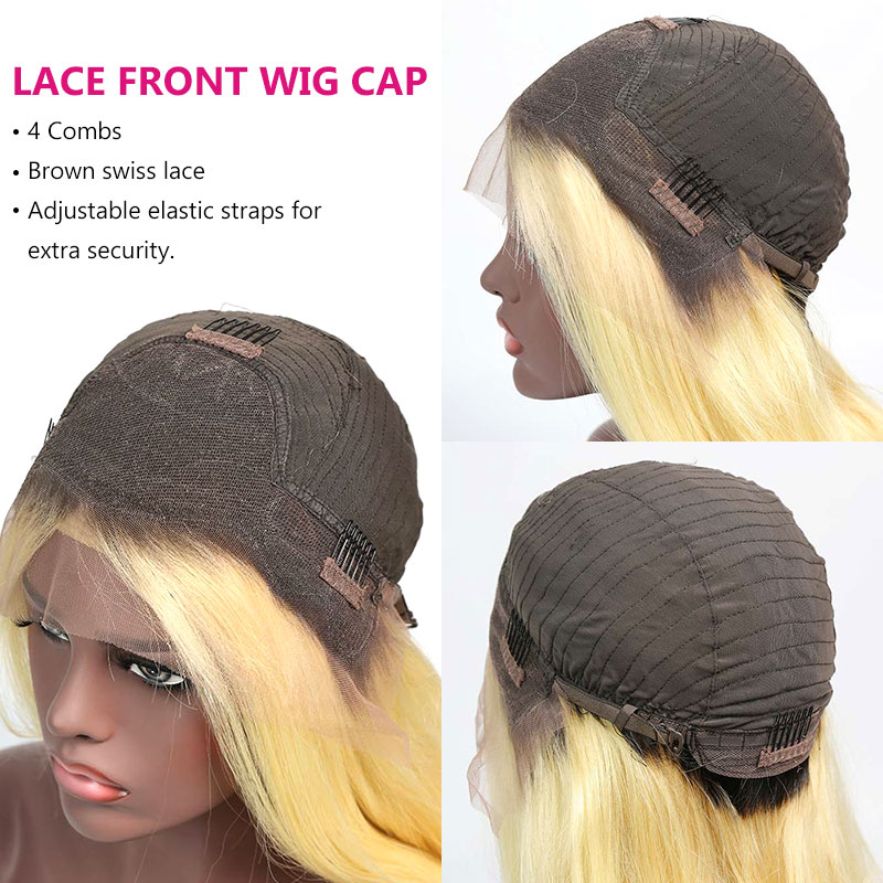 150% Density Bob Lace Front Wig Color 1B/613 Ombre Straight Virgin Human Lace Wig