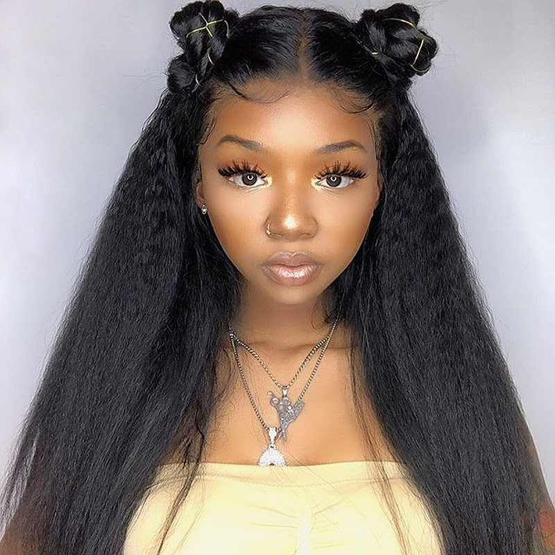1B# Top Quality Virgin Human Hair Kinky Straight Full Lace Wigs