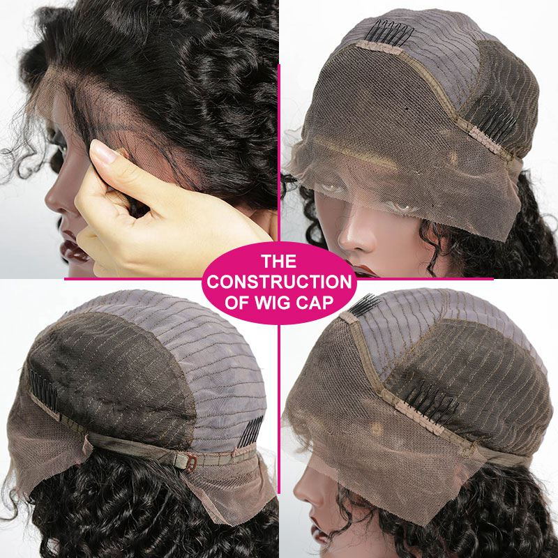 130% Density 1B# Top Quality Virgin Human Hair Italian Curly Lace Frontal Wigs