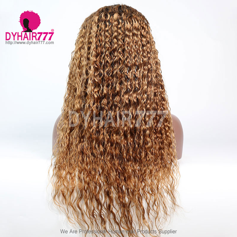 180% Density Ombre 1B/30 Lace Wig Loose Deep Wave Lace Frontal Wig 100% Virgin Human Hair Natural Color