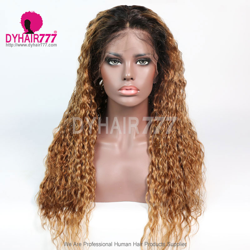 6inch Parting Space 180% Density Natural Color Ombre 1B/30 Lace Wig Loose Deep Wave Lace Frontal Wig 100% Virgin Human Hair