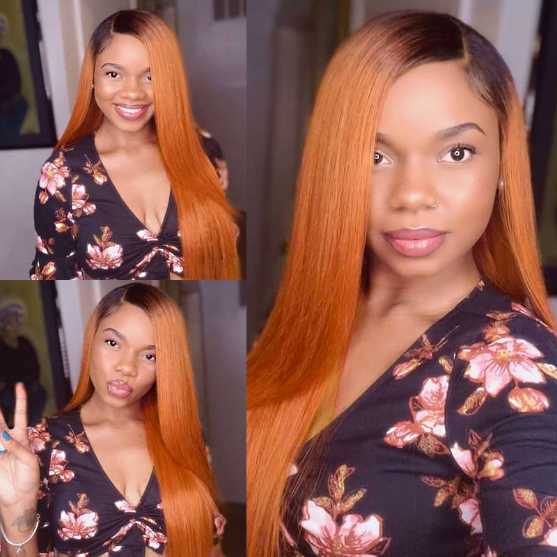 130% Density Lace Front Wig Color 1B/Orange Ombre Straight Hair Virgin Human Lace Wig