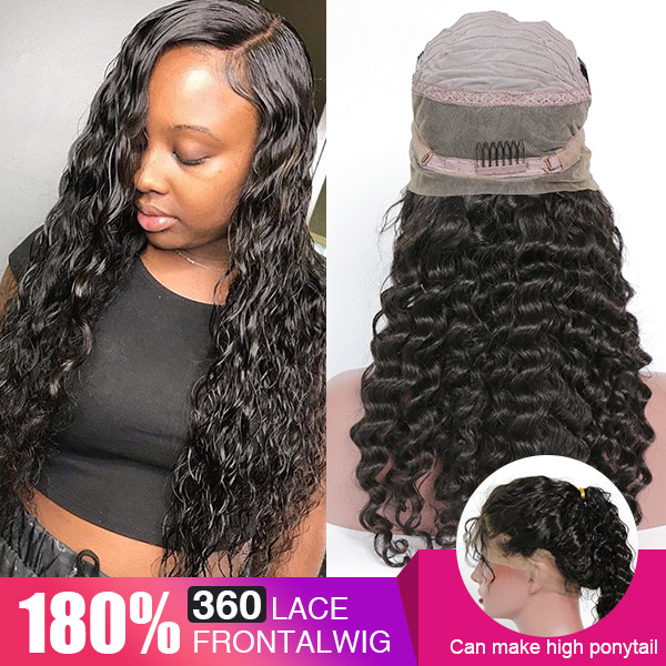 360 Lace Wig 180% Density Virgin Human Hair Deep Wave Pre Plucked