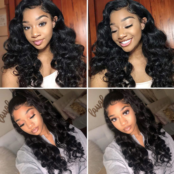 180% density Top Quality Virgin Human Hair Loose Wave Full Lace Wigs