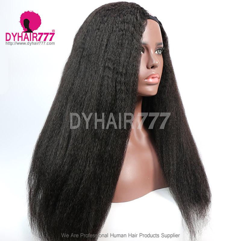 130% Density #1B Virgin Human Hair Side U Part Wigs Kinky Straight Hair Lace Front Wig