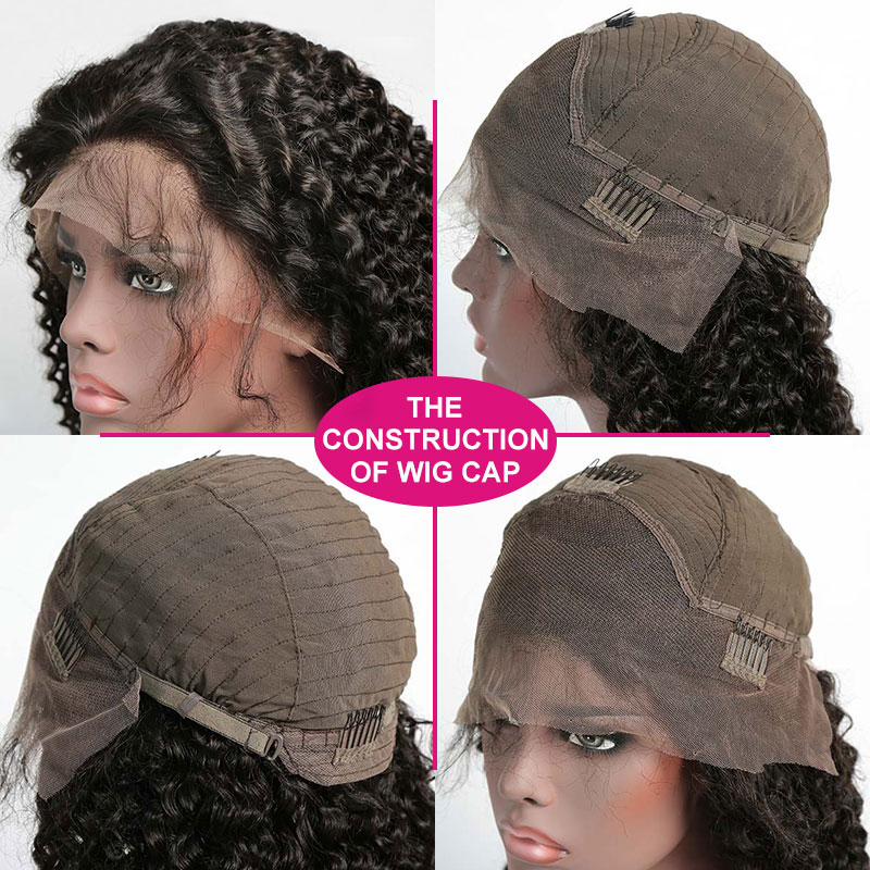 130% Density 1B# Top Quality Virgin Human Hair Deep Curly Lace Frontal Wigs