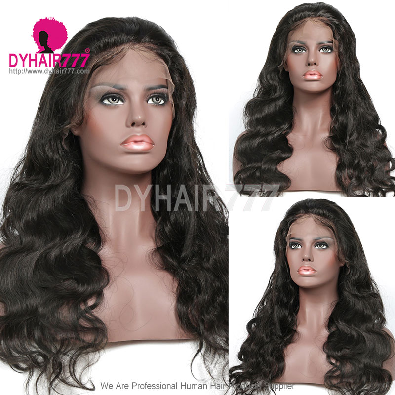 130% Density 1B# Top Quality Virgin Human Hair Body Wave Lace Frontal Wigs
