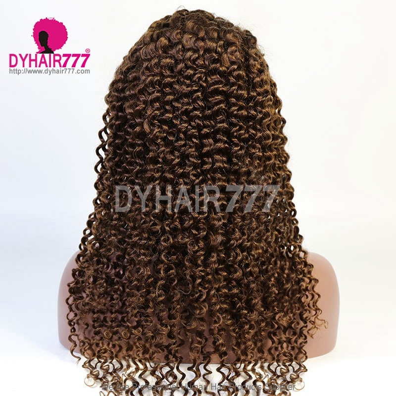 4# Top Quality Virgin Human Hair Deep Curly Full Lace Wigs
