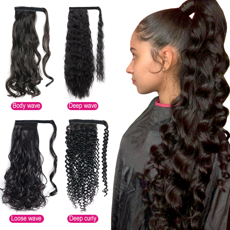 Ponytail Hairpiece Wrap Clip Hair Extensions 100% Unprocessed Remy Hair Extension