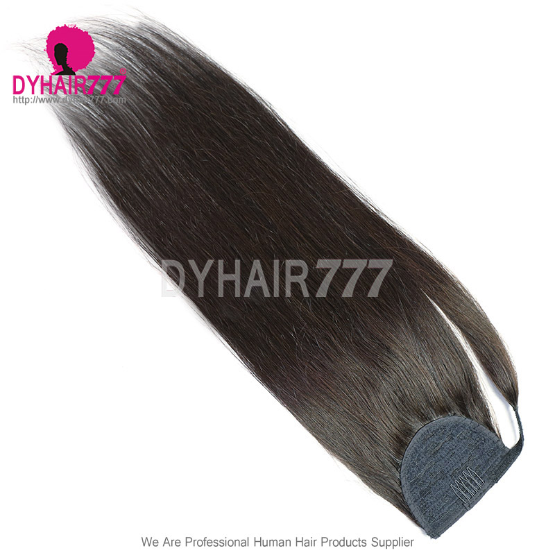Ponytail Straight Hairpiece Wrap Clip Hair Extensions 100% Unprocessed Remy Hair Extension