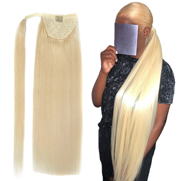 Ponytail #613 Color Hairpiece Wrap Clip Hair Extensions 100% Unprocessed Remy Hair Extension