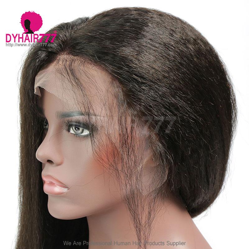 130% Density 1B# Top Quality Virgin Human Hair Kinky Straight Full Lace Wigs
