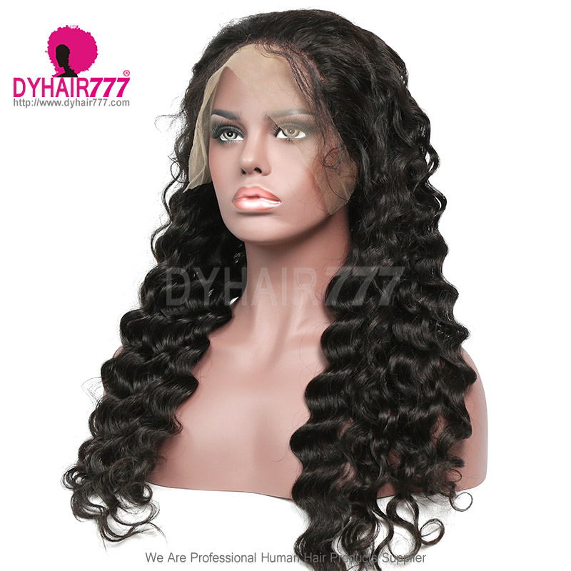 130% Density 1B# Top Quality Virgin Human Hair Loose Wave Full Lace Wigs Natural Color