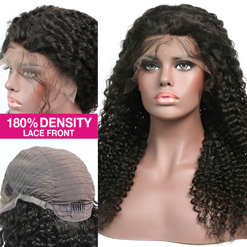 180% density Top Quality Virgin Human Hair Deep Curly Lace Front Wigs