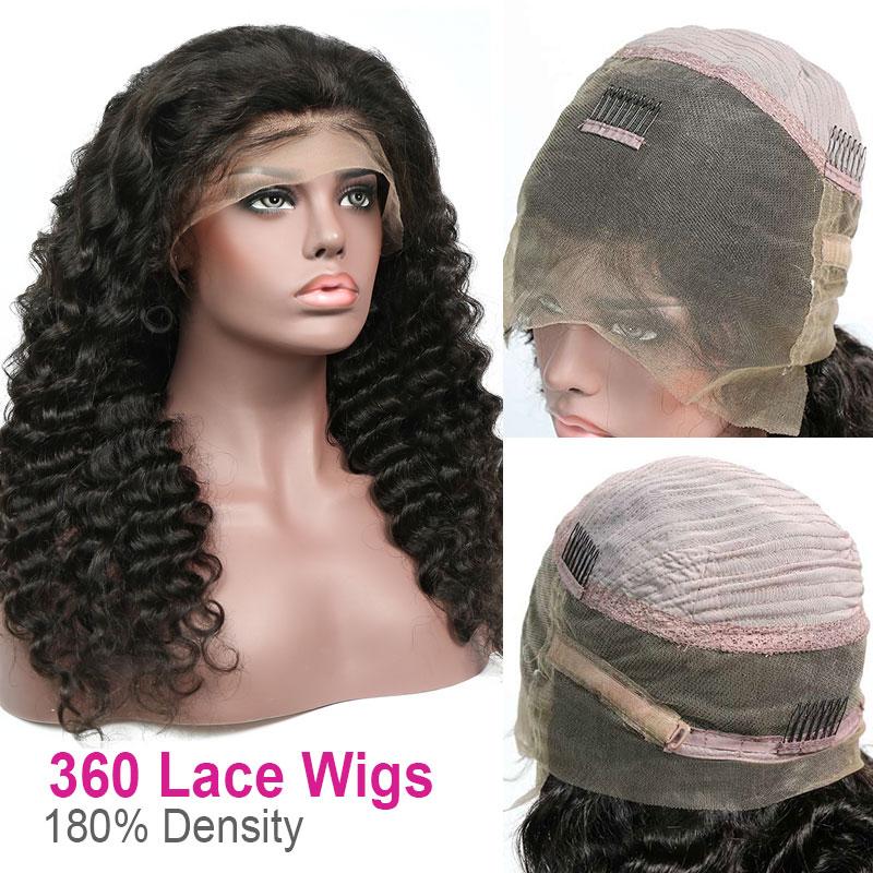360 Lace Wig 180% Density Virgin Human Hair Loose Wave Pre Plucked