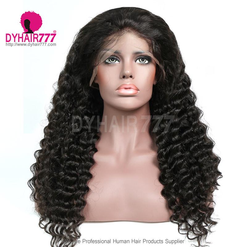 360 Lace Wig 180% Density Virgin Human Hair Deep Wave Pre Plucked