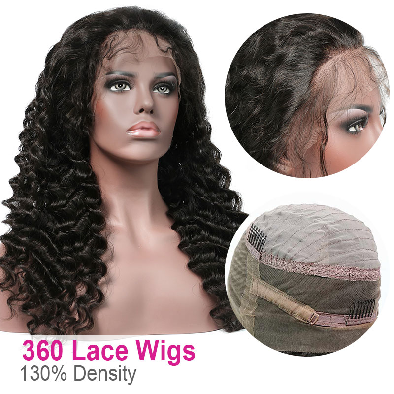 360 Lace Frontal Wig Pre Plucked Virgin Human Hair Deep Wave 130% Density 360 Lace Wig