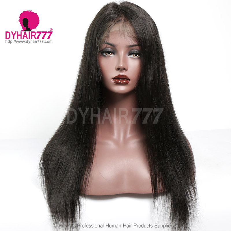 360 Lace Band Frontal Bleached Knots Virgin Human Hair Straight With Baby Hair