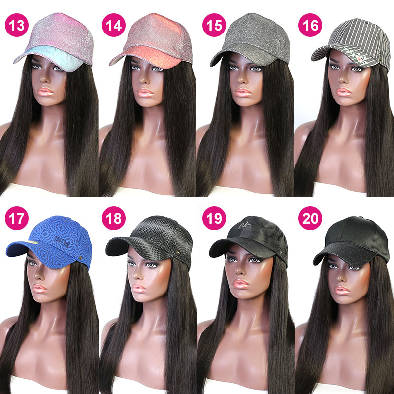 Cap Hair Extension Straight Hair Hat Wig 100% Virgin Human Hair Top Quality Natural Color