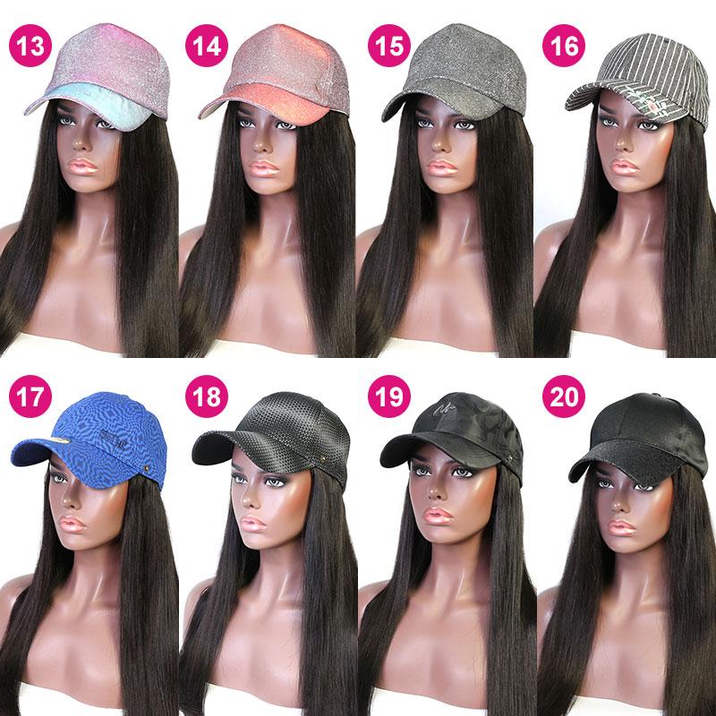 Cap Hair Extension Hat Wig 100% Virgin Human Hair Top Quality Natural Color
