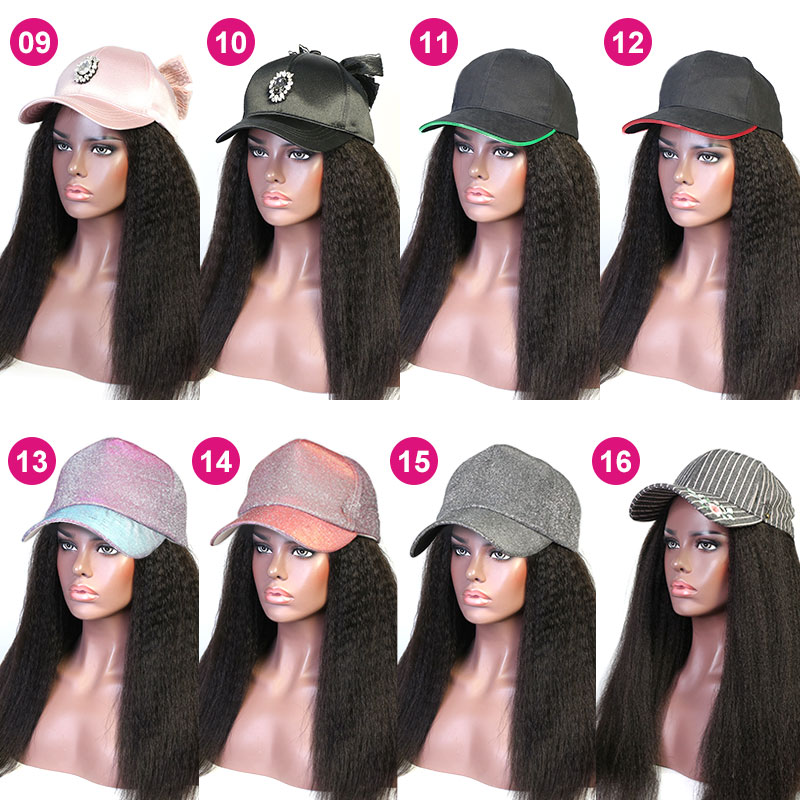 Cap Hair Extension Kinky Hair Hat Wig 100% Virgin Human Hair Top Quality Natural Color