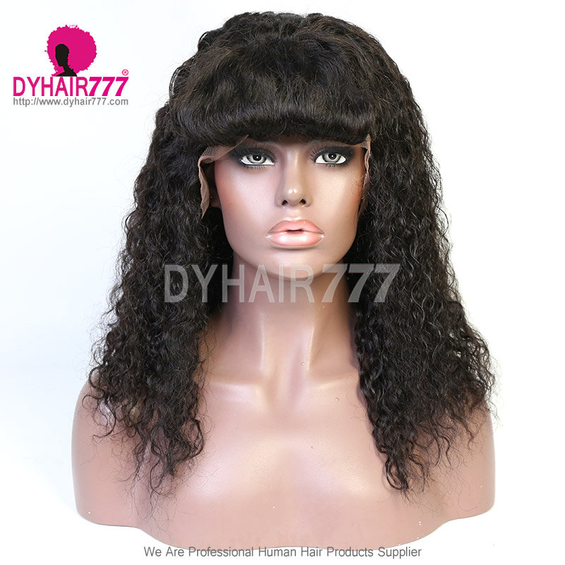 Curly Human Hair Wigs With Bangs 180 Density Lace Front Wigs