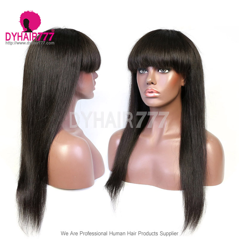 Full Machine Made Wigs With Bangs 130% Density Human Hair Wigs 100% Human Hair (Not Have Lace)
