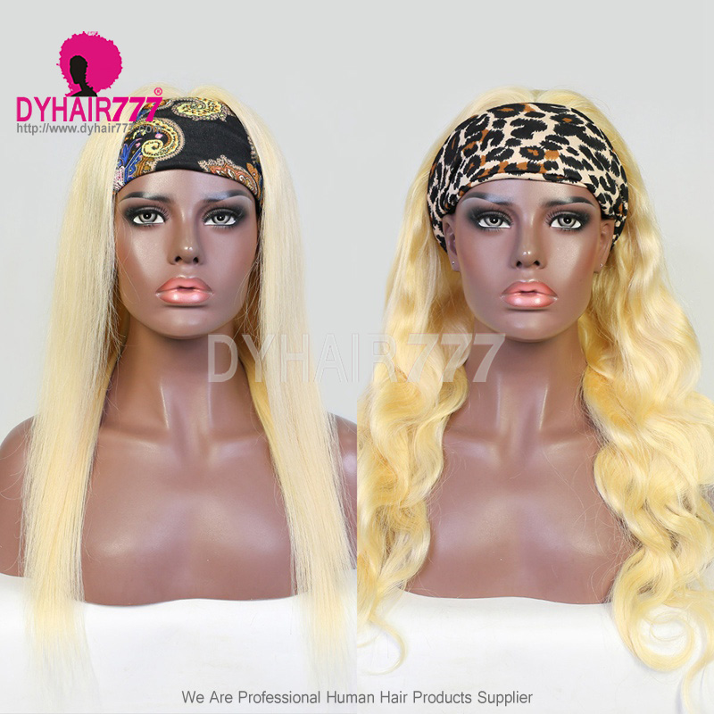 130% Density Color 613 Headband Scarf Wigs Human Hair Wigs 100% Human Hair (Not Have Lace)