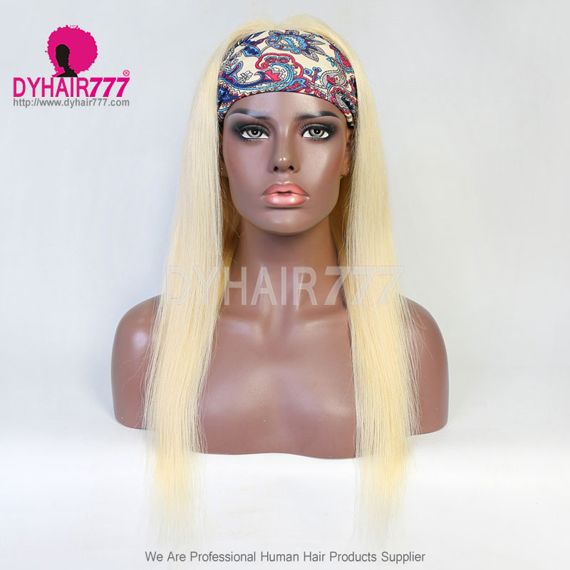 180% Density Color 613 Headband Scarf Wigs Human Hair Wigs 100% Human Hair (Not Have Lace)
